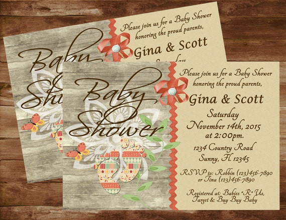 baby shower invitation country baby shower rustic baby shower baby