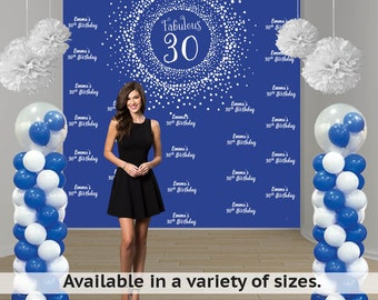 Birthday Firework Party Personalized Photo Backdrop - Milestone Birthday Photo Backdrop- Step and Repeat Photo Backdrop - 30th Birthday