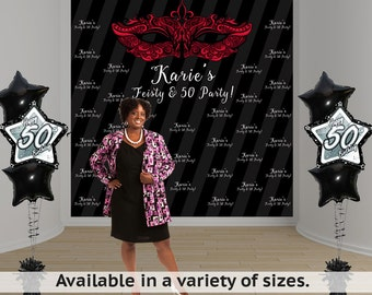Feisty & 50 Birthday Personalized Photo Backdrop - Masquerade Mask Photo Backdrop- Party Backdrop -Step and Repeat Backdrop - 50th Birthday