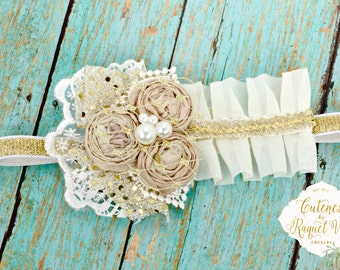 Silk Sweet Rosettes Baby Headband - Couture Headband - Photo Prop - Birthday Headband - Ivory Headband - Girls Headband - Baby Headband