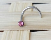 Pink Surgical Steel Nose Ring Stud Piercing