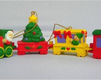 "VINTAGE AVON CHRISTMAS ""Artic Express Train Set Ornaments"" - 1995"