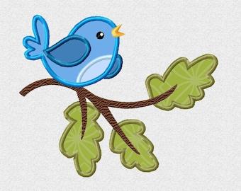Bird on a Branch Applique Machine Embroidery DESIGN NO.  427