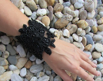 Black lace flower bracelet, Lace Cuff with bead embroidery, Lace jewelry, Lace Wrist Cuff, Black flowers in lace, Bead embroidery