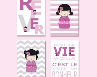 kokeshi poster - 4 posters of japanese doll with french words, girl wall decor