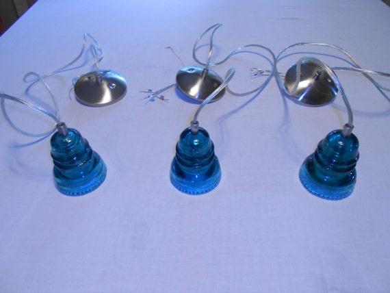 Glass Insulator Pendant Lights Set Of 3