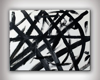 Abstract Art Black and White 31x24 Original Modern Art,- Moving  Free