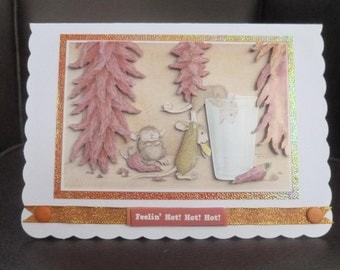 House Mouse 3d Decoupage card - Chilli Lovers Birthday Card -  UK seller