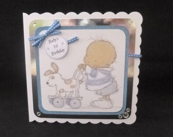 Baby Boy's 1st Birthday Card - Handcrafted in UK - 3d decoupage
