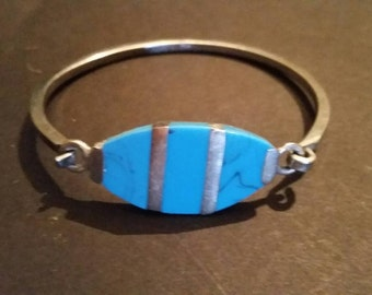 Vintage Turquoise Colored Silver Bracelet Boho 925 Jewelry