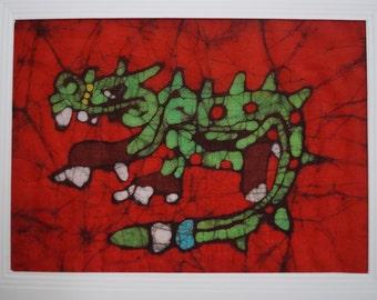 Batik card of a Mayan Crocodile