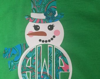 """Snowman """"Snowgirl"""" Personalized Shirt Long Sleeved"""