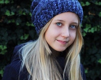 Warm chunky wool winter hat with pompon