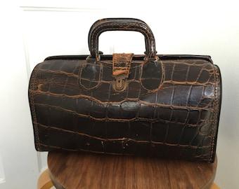 Vintage Distressed Leather Doctors Bag