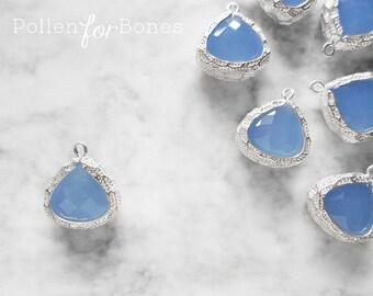 1pc ∙ Blue Faceted Glass Azure Gemstone Pendant Silver Bezel Teardrop Charm Necklace Jewelry Supplies