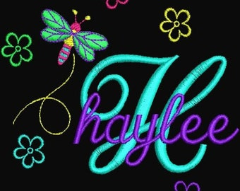 Instant Download Embroidery Machine Designs Fonts Alphabet Dragonfly Flowers Childrens Baby Designs PES Format gift