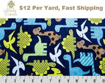 Minky Fabric By the Yard. Robert Kaufman Dino Cuddle Midnight Minky at Wholesale Prices