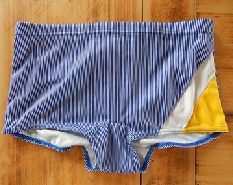Vintage Boys Swimming Trunks Blue White Yellow Bathing Trunks