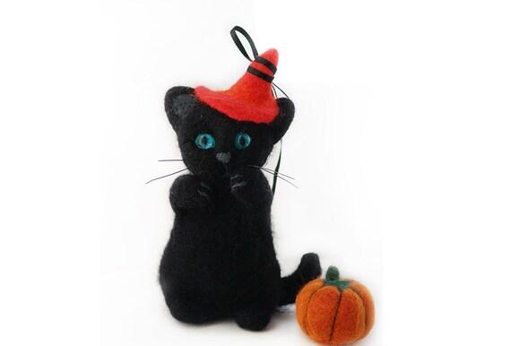 Halloween Needle Felted Black Kitten With Pumpkin