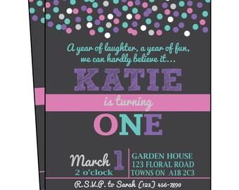 Birthday Invitation, Girl Invite, Polka Dots, 1st Birthday Invite, Birthday Party, Polka Dot Party