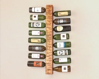 Wall Wine Rack | Ladder Style Wine Rack | Vertical Wood Wine Storage for 16 Bottles
