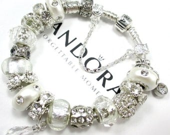 Authentic Pandora Bracelet,.925 Silver, or CHOOSE, Euro Style Bracelet, Silver Plated, Both with, Non Branded Beads & Charms, WS3D