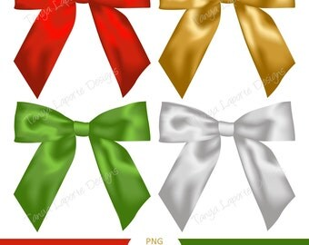 """Satin Bows digital clipart done in Red, Green, Silver & Gold - Png files 6x6"""""""