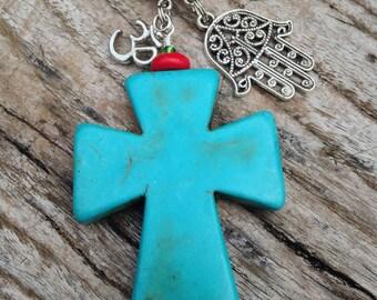 TANGLED BELIEFS Key Chain, Cross Hamsa Om Key Chain, Spiritual Key Chain