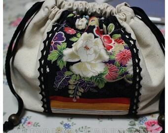 0501003 Japan style floral lunch bag Drawstring bag {xeiyalam}