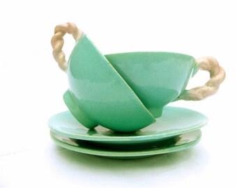 Retro cups turquoise mid century style Vallauris - blue green ceramic majolica pink handle - majolica earthenware retro 1950's