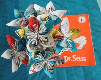 Origami flowers made from Dr. Seuss' Green Eggs and Ham pages-- Dr. Seuss gift-- baby shower decoration-- Dr. Seuss birthday--teacher gift