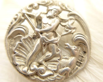 Antique Victorian Birmingham Hall Marked Silver Neptune Shell Button