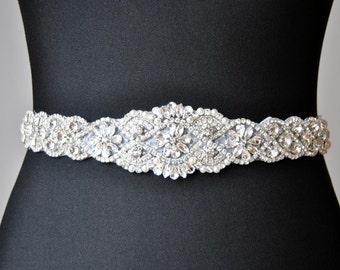 "SALE 34"" Wedding Dress Sash Belt, Luxury Crystal Bridal Sash, Rhinestone Sash,  Rhinestone Bridal Bridesmaid Sash Belt, Wedding dress sash"