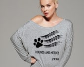 FTLA Apparel's Hounds and Heroes Off The Shoulder Flowy Pullover - XS-2XL