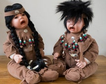 Native American  Crying Baby Dolls Porcelain