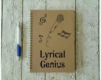 Songwriters Notebook, Personalised Gift, Music Notebook, Stationery Gift, Music Journal, Music Gift, Lyrical Genius, Vinyl Decal Notebook