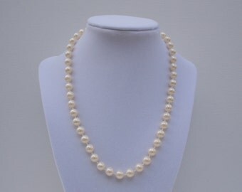 Pearl Flower Girl Necklace - Faux Pearls - Flower Girl Necklace - 18 Inches - 1950s