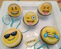 Edible Emoji Party, Wafer and Rice Paper,  Cookie, Cupcake and Treat Toppers Decorations