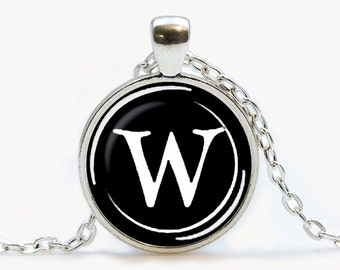 Vintage Typewriter Key pendant. Letter W Necklace. Typewriter jewelry. Initial Name, Birthday gift