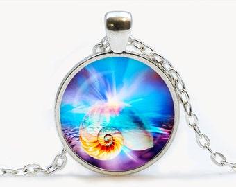 Seashore Dreams art pendant. Shell Necklace. Ocean, sea, beach jewelry. Birthday gift