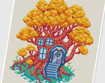PDF Cross Stitch pattern - 0040.Treehouse - INSTANT DOWNLOAD