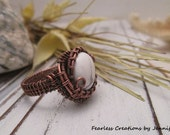 Boho Ring ~ White Howlite Copper Wire Wrapped Ring ~ Size 8.5 Ring, Mother's Day Gift Idea, Fearless Creations, Copper Jewelry, Gift for her