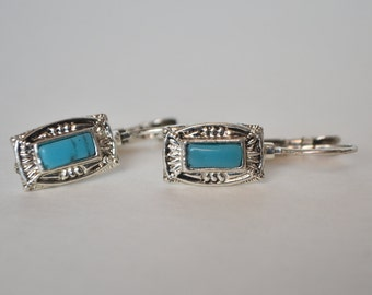 Sterling Silver Turquoise Howlite Leverback Earrings