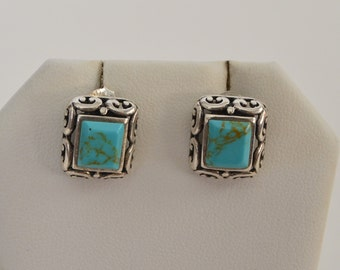 Vintage Sterling Silver 925 Filigree Natural Turquoise Square Earrings