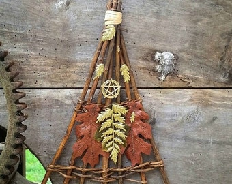 Mabon sabbat decor, Mabon altar decor, Autumn Equinox ritual decor, decorated witches broom, pagan altar decor, fall leaves, pagan home