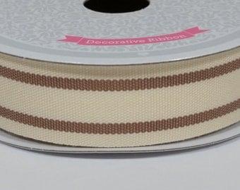 """7/8"""" Dual Lines Ribbon - Brown - 10 Yards"""