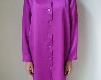 FUCHSIA SHIRT DRESS -festival, boho, blouse, oversized, long sleeve, minimalist, avant garde, pink, asian, robe, gown, kimono, long line-