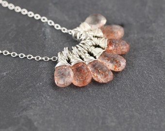 Sunstone & Sterling Silver Necklace. Gemstone Cluster Pendant. Wire Wrapped Bead Necklace. Boho Hippie Jewelry. Bohemian Jewellery. Artisan