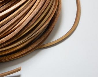8ft (2.43m) (2.66 yards) 3mm x 3mm Flat Square Leather Cord in Natural Distressed Light Brown, Genuine Leather #SD-S7856
