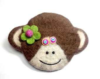 Chinese New Year,Year of the monkey  felted wool monkey bag
